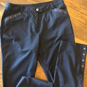 Navy ankle pants with snap details